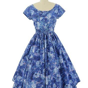 50s Jerry Gilden Blue Watercolor Floral Full Midi Dress