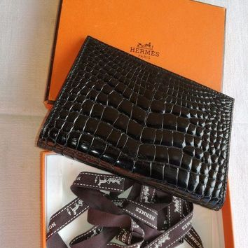 ONETOW Hermes crocodile black agendas cover never used
