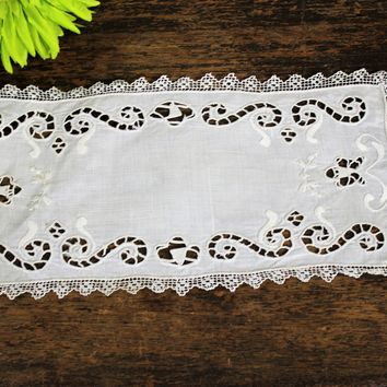 Vintage Linen Table Doily or Runner With Cutwork And Crochet Lace Trim