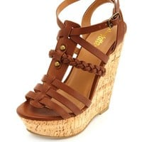 BRAIDED PLATFORM GLADIATOR WEDGE SANDALS