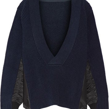 Sacai - Shell-trimmed wool sweater