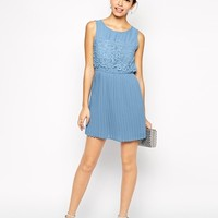ASOS PETITE Exclusive Pretty Lace Top Pleated Skirt Dress