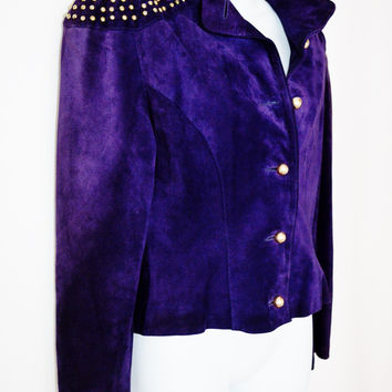 Purple Leather Suede Fitted Jacket Cry Prince Gold Studded Military Small/Med (Vintage)