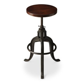Gladney Industrial Round Revolving Bar Stool Iron and Recycled Wood