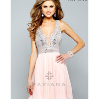 Preorder - Faviana S7670 Soft Peach Beaded Bodice Short Chiffon Dress 2015 Homecoming Dresses