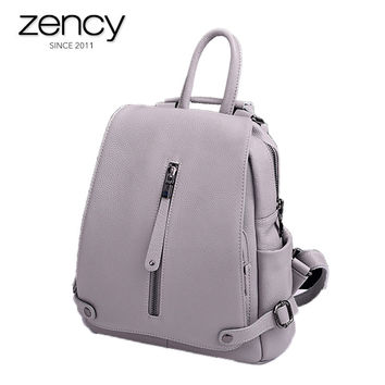 2017 New Style 100% Genuine Leather Backpacks Women's Anti-theft Bags Delicate Laptop Travel Packs 5 Colors Purses For Famale