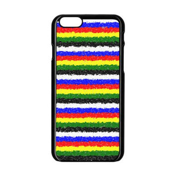 Horizontal Basic Colors Curly Stripes Apple iPhone 6 Black Enamel Case