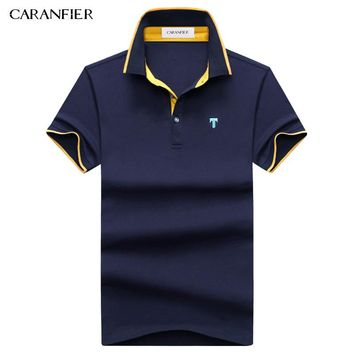 CARANFIER 2017 Summer Hit Color Men Polo Shirt Badge Breathable Anti-pilling Cool For Men Designer Cotton Golftennis