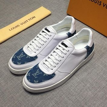 LV Louis Vuitton Men's Leather Fashion Low Top Sneakers Shoes