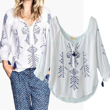 Women's Fashion Tassels Embroidery Print Linen Shirt [5013201284]