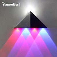 LemonBest Three-color 5W Wall Lamp Aluminum LED Wall Light Modern Home Lighting Indoor Decoration Red Blue Cool White AC 85-265V