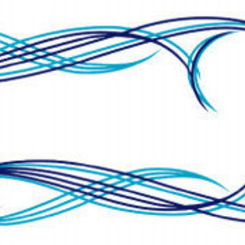 Blue Pin Stripe Scroll Auto Decal