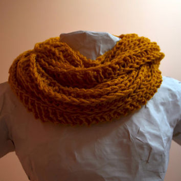 Yellow Gold Mustard Ribbed Crochet Double Loop Infinity Circle Scarf