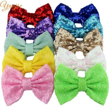 """10pcs/lot 33colors 5"""" Big Glitter Sequin Bow Hair Clips,For Girls And Kids Headbands DIY Hair Bows Girls Hair Accessories"""