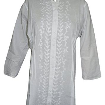 Mogul Interior Womens Shirt Blouse White Hand Embroidered Free Spirited Tunic Top Swimsuit Cover Up