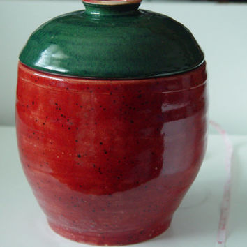"Large 10 cup pottery Lidded Jar, Kitchen storage canister, Cookie Urn, Red with Dark Green lid, ""Berry Good"", Wheel Thrown stoneware ceramic"