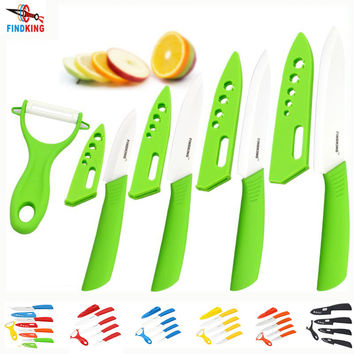 "Beauty Gifts Zirconia kitchen green color knife set Ceramic Knife Set 3"" 4"" 5"" 6"" inch+peeler+Covers+Free shipping"