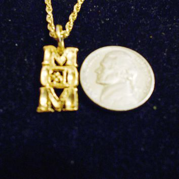 bling 14kt yellow gold plated MOM saying pendant charm 24 in rope chain hip hop trendy fashion necklace jewelry special