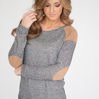 Faux Suede Detail Waffle Knit - Grey