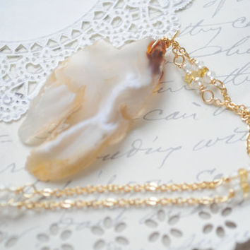 SALE Savannah Nights Long NecklaceAgate Druzy by littlejarofhearts