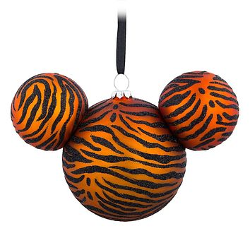 Disney Parks Animal Kingdom Mickey Icon Glass Ball Ornament New with Tag