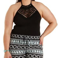 Plus Size Black Crochet High-Neck Halter Bodysuit by Charlotte Russe