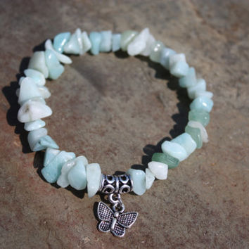 Amazonite Positive Affirmations Bracelet with Butterfly Charm