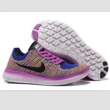 Nike free RN flynit running sneakers Sport Casual Shoes Sneakers Rainbow blue-purple