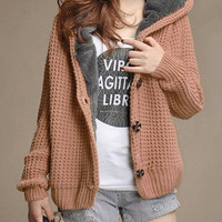Khaki Long Sleeve Hooded Cardigan