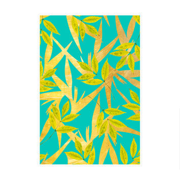 Gold and Teal Florals Art Print
