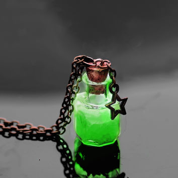 PRE-ORDER ONLY Green Ember Luminous Wish Bottle Pendant Necklace