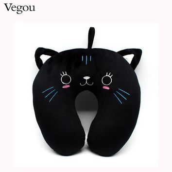 Fashion Cute Black Cat U-shaped Travel Pillow Best Choice For Travel Use For  Home Neck Pillow Almohada Travesseiro Kissen