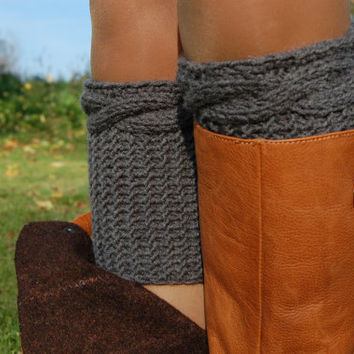 PATTERN - Women' Cable Knit Boot Cuff Knitting Pattern, Hand Knit Boot Cuffs Pattern