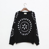 Round Collar Black long sleeve round neck cotton sweatshirt style zz909004  Other type  Print Pop  style zz909004 in  Indressme