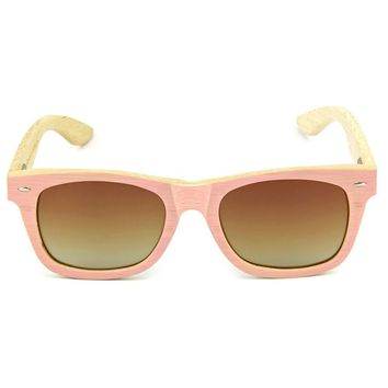 Pink Bamboo Wood Sunglasses