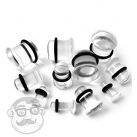 Clear Glass Plugs | Single Flares | UrbanBodyJewelry.com
