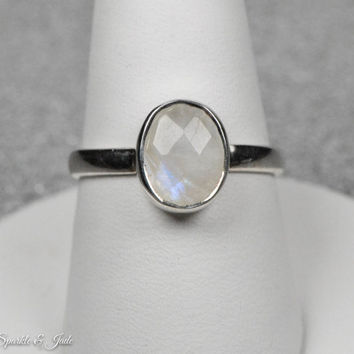 Oval Rainbow Faceted Moonstone Sterling Silver Stackable Ring