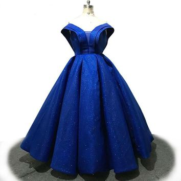 Glitter Royal Blue Evening Dress Sweetheart Backless Dresses Formal Party Ball Gown robe