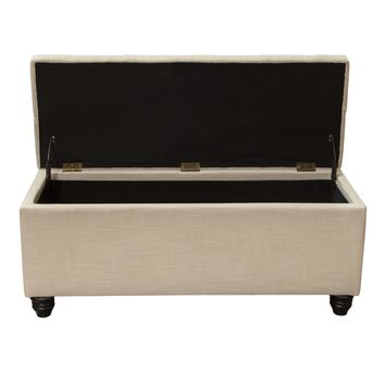 Chesterfield Tufted Lift-Top Storage Trunk - Sand Linen