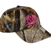 Ladies' Monogrammed CAMO Baseball Cap | Personalized with Monogram | Choose Monogram Style and Thread Colors | by Mad About Monograms