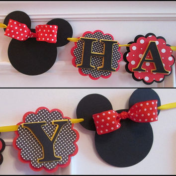Minnie Mouse Banner, Minnie Mouse Birthday Decorations