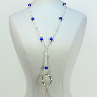Id lanyard with silver wire wrapped blue cats eye beads 316