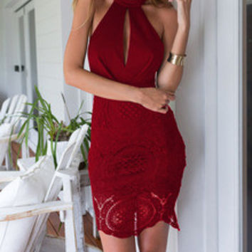 Burgundy  Red Halter With Lace Backless Dress