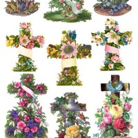 Floral Crosses Victorian Stickers