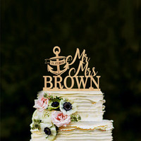 Mr and Mrs cake topper with anchor, nautical anchor cake topper, wedding cake topper, personalized cake topper with last name, gold silver