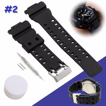 Rubber Wristband Black Silicone Military Sweatband Sport Straps Watchband For CASIO With Stainless Steel Buckle 2pcs pins Tools