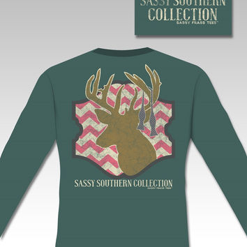 SALE Sassy Frass Preppy Deer Chevron Long Sleeve Bright Girlie T Shirt