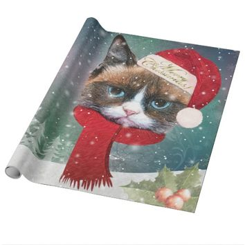 Meowy Santa Cat Christmas Wrapping Paper