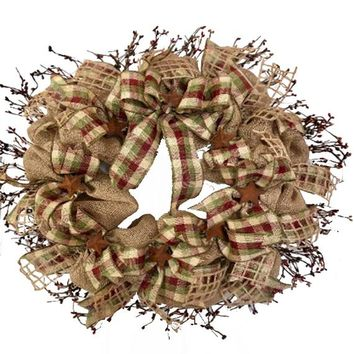 Primitive Burlap Pip Berry Wreath | Primitive Decor | Pip Berry Garland with Rusted Stars | Country Farmhouse Wreath | Country Home Decor