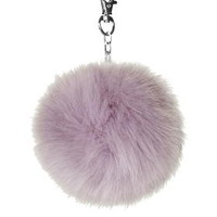 Medium Fluffy Pom Bag Charm - Grey